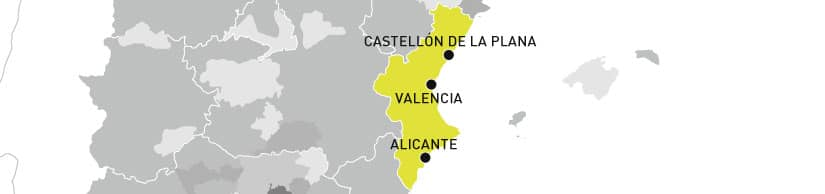 mapa denominación Aceite de la Comunitat Valenciana