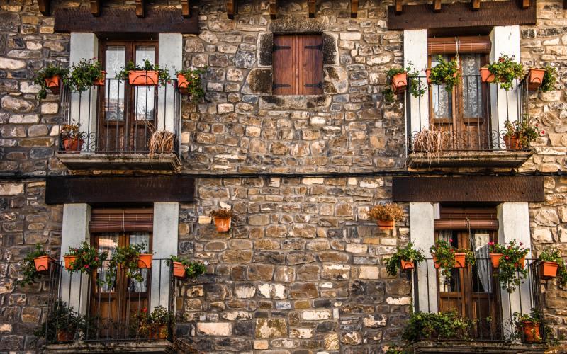 Arquitectura típica del Pirineo en Ansó