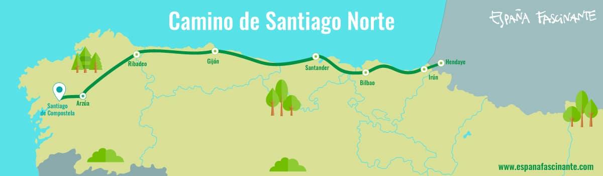 Mapa Norte España Costa.Northern Way To Santiago Fascinating Spain