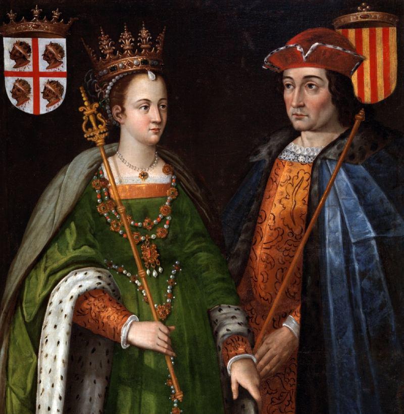 Detalle de los retratos de Petronila de Aragón y Ramón Berenguer IV