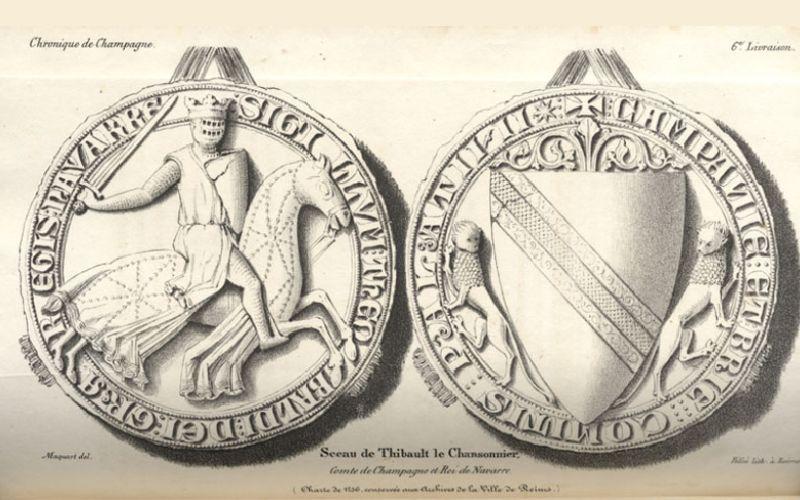 Sellos de Teobaldo I, con la bloca en el caballo, las armas del escudo son del ducado de Champaña