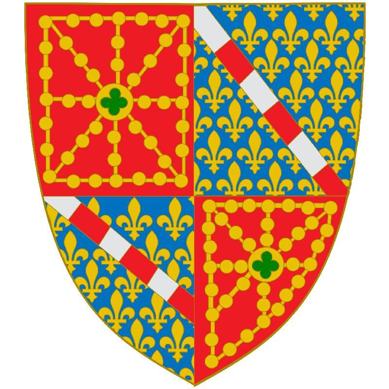 Escudo de navarra cuartelado con los emblemas capetos de la dinastía Evreux