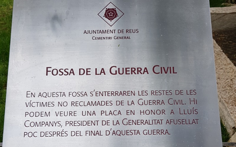 Placa de la fosa de la Guerra Civil
