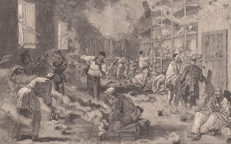 Ilustración de las fumigaciones por la fiebre amarilla en Leganés