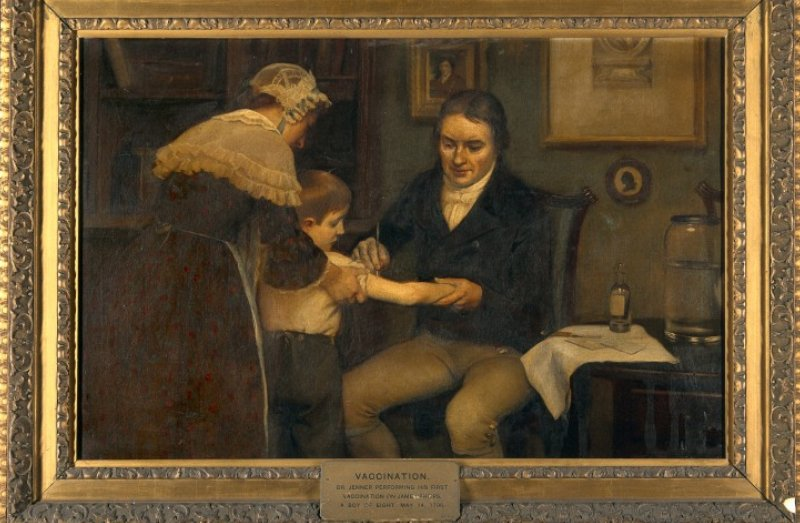 Jenner vacunando al joven James Phipps