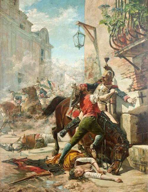 Manuela Malasaña combatiendo contra los franceses