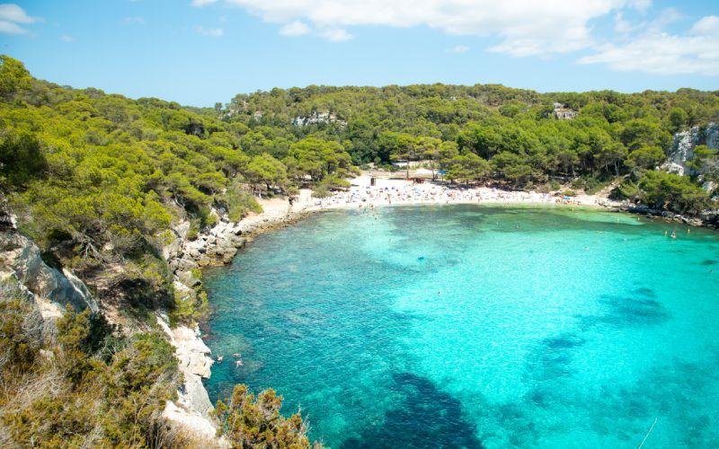 La cala Macarella en Menorca