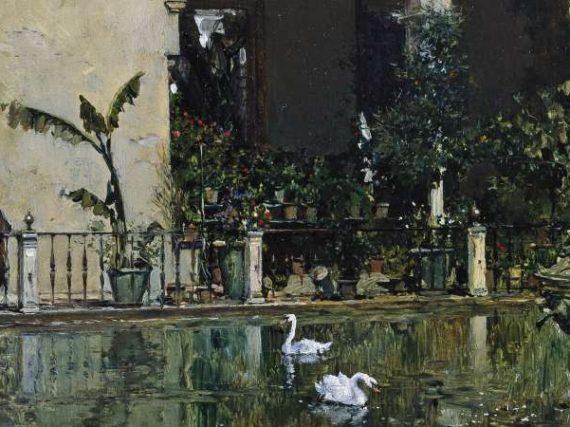 Un remojo en el estanque del Alcázar de Sevilla de Raimundo de Madrazo | Cuadros con vida 8