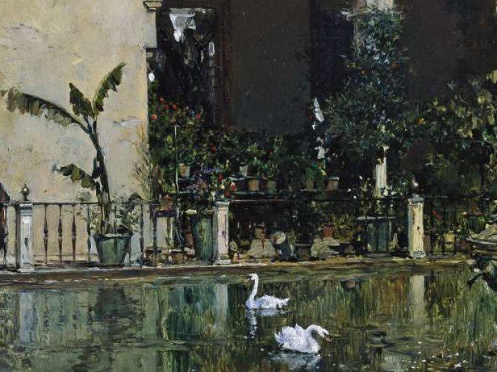 Un remojo en el estanque del Alcázar de Sevilla de Raimundo de Madrazo   Cuadros con vida 8