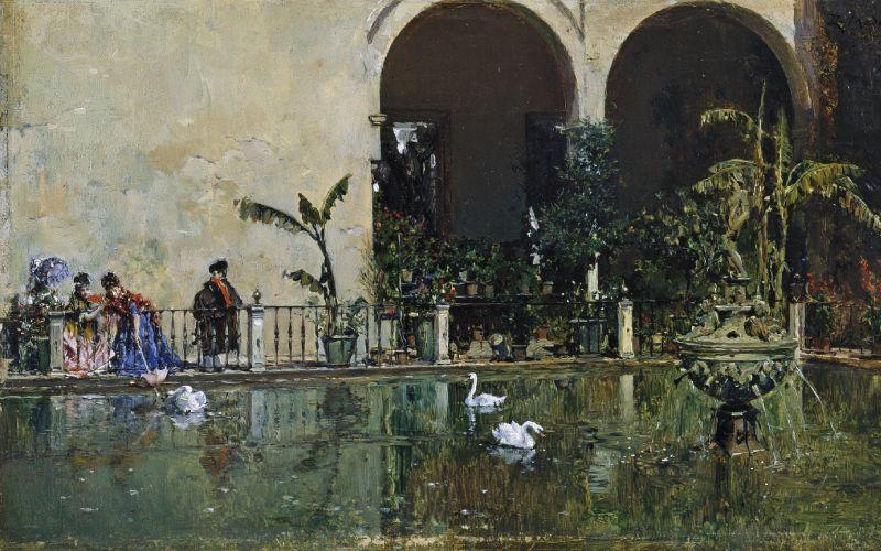 Cuadro Estanque en los jardines del Alcázar de Sevilla de Raimundo de Madrazo