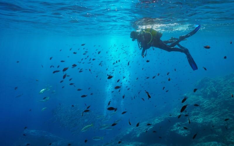 Submarinista en las aguas de las Islas Medas