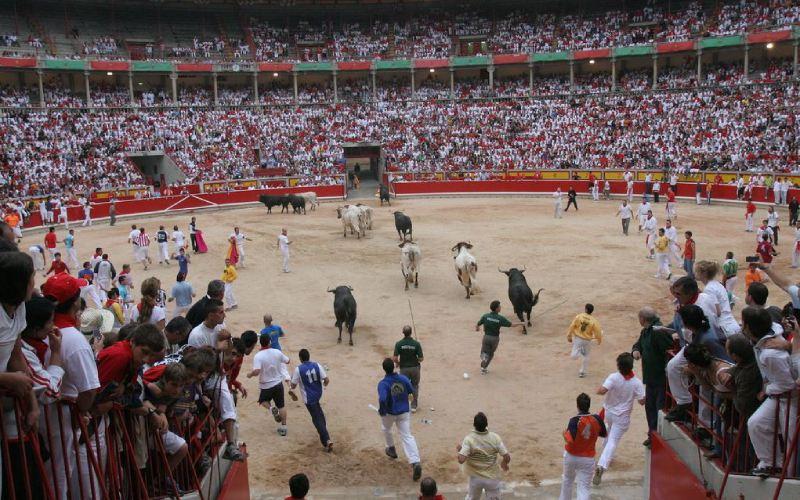 Encierros en la plaza de toros de Pamplona