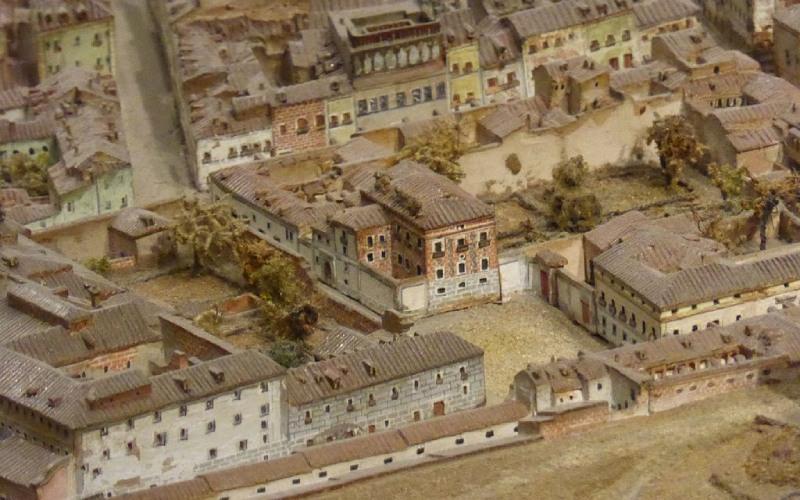 Plaza del Rey y Casa de las Siete Chimeneas en 1828, Modelo de Madrid, de Gil de Palacio