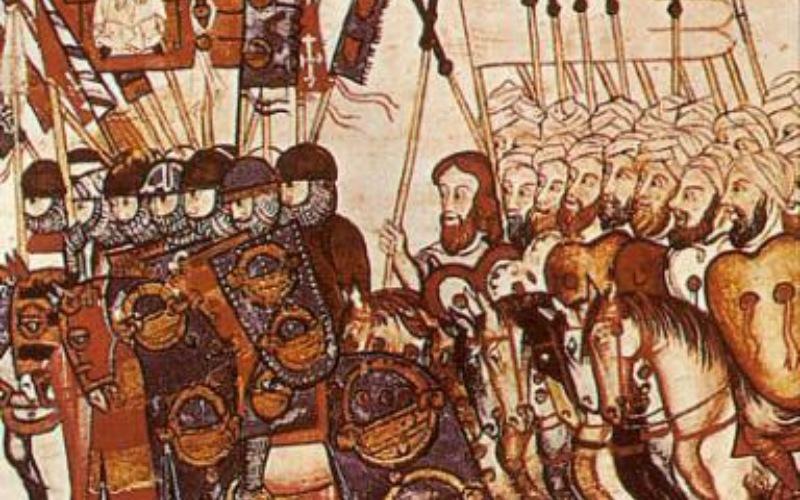 Miniatura de tropas cristianas y musulmanas, siglo XIII