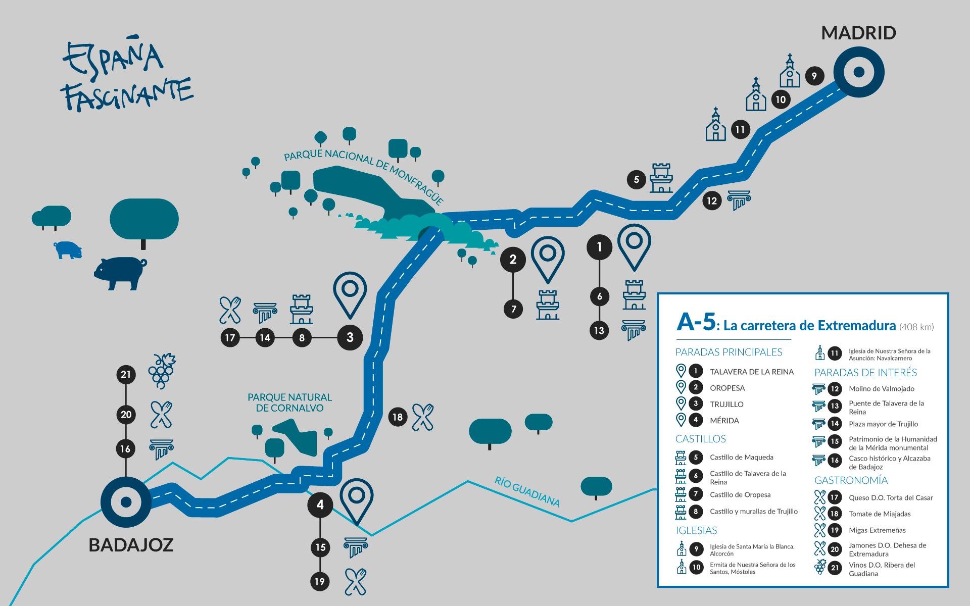 Mapa práctico sobre la carretera de Extremadura
