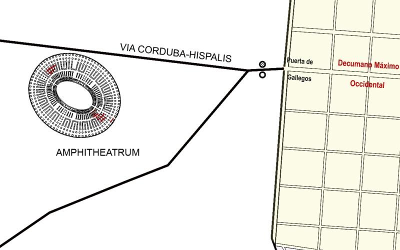 Ubicación del anfiteatro en la ciudad romana