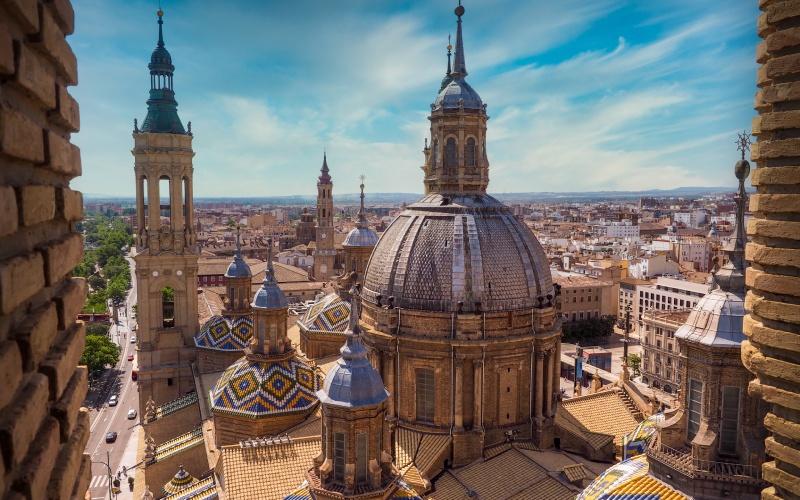 Vista aérea Basílica del Pilar
