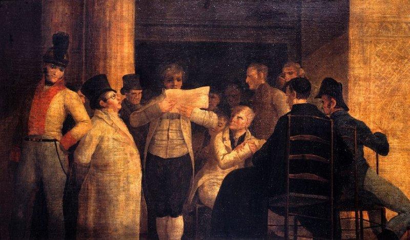 Tertulianos ilustrados en el café Levante