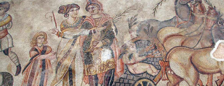 Parte del mito de Pélope en el mosaico romano de Noheda