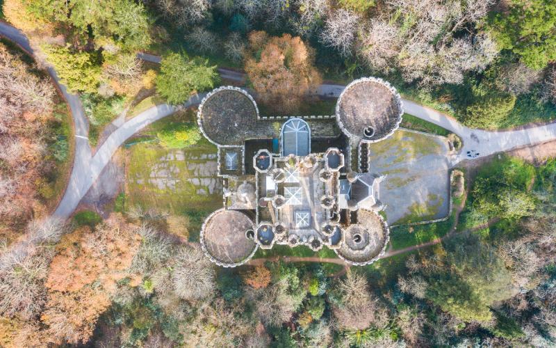 Vista aérea del castillo de Butrón