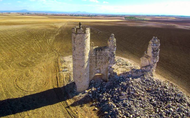 Vista aérea del castillo de La Caudilla o Rivadeneyra