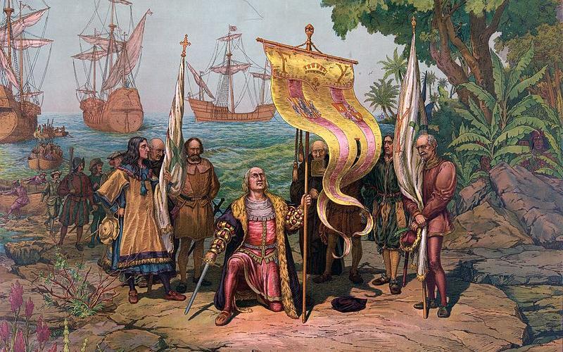 Ilustración de Colón tomando posesión de Guanahani en nombre de los Reyes Católicos el 12 de octubre de 1492.