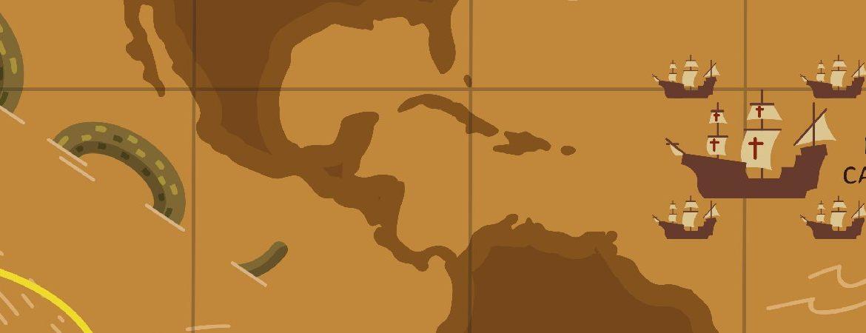 detalle del mapa de la primera circunnavegación de la historia
