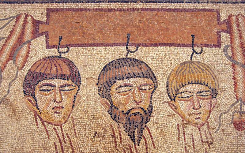 Detalle de la trama de Pélope e Hipodamía en el mosaico romano de Noheda