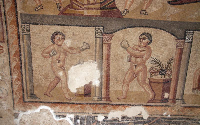 Púgiles en el gran mosaico romano de Noheda