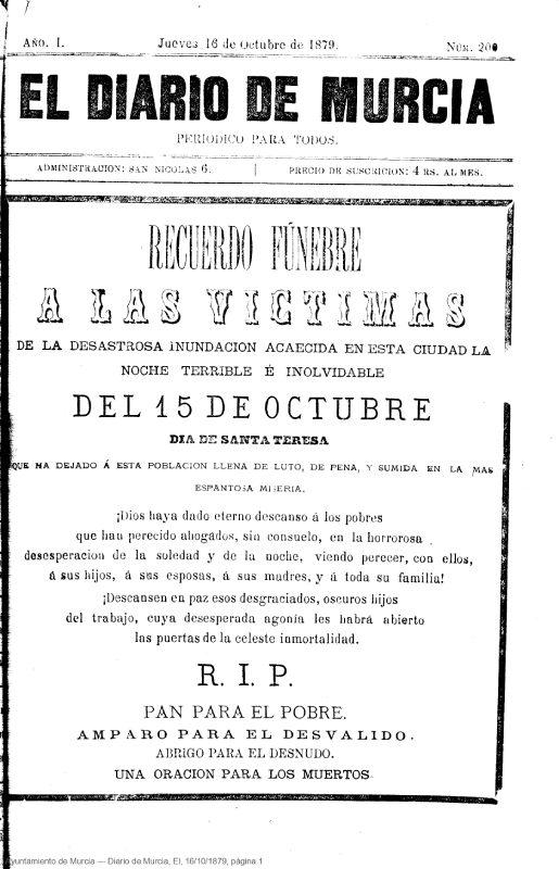Portada del Diario de Murcia en 1879