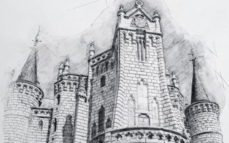 Un maravilloso dibujo a lápiz del Palacio Episcopal de Astorga