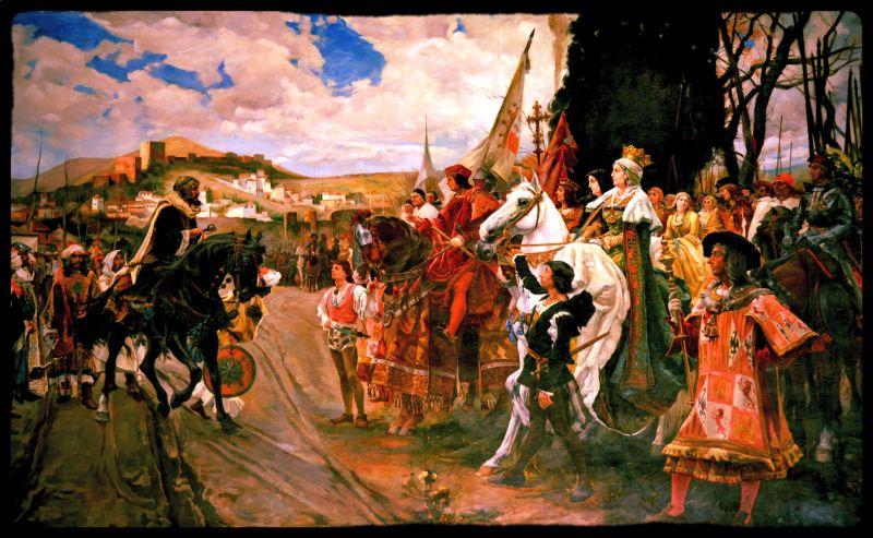 Detalle de la Rendición de Granada de Francisco Padilla