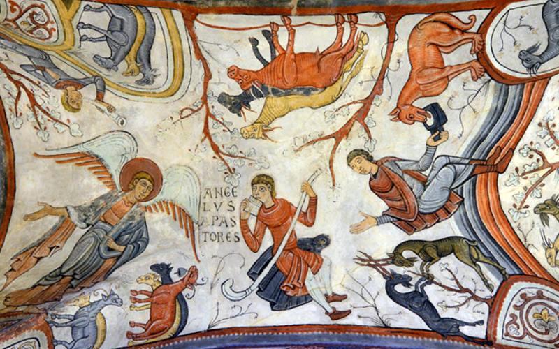 Frescos del panteón de los reyes de León, parte del ciclo de la Navidad