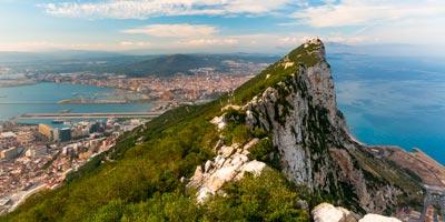 Vista del Peñón de Gibraltar y Algeciras