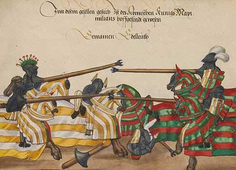 Antigua ilustración de Suero de Quiñones y su Passo Honroso