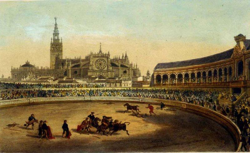 Cuadro mostrando una corrida en la Real Maestranza de Sevilla