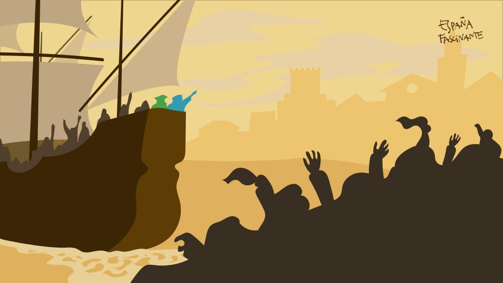 Ilustración de la salida Magallanes y Elcano Sanlúcar de Barrameda