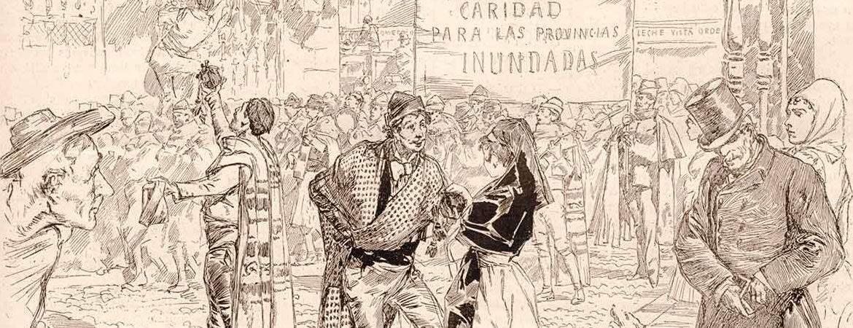 Dibujo que muestra la caridad en Madrid