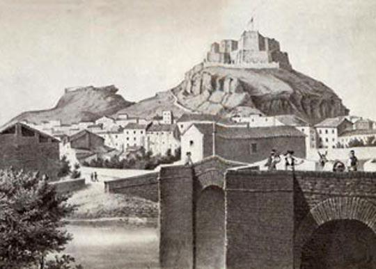 Grabado antiguo de Monzón