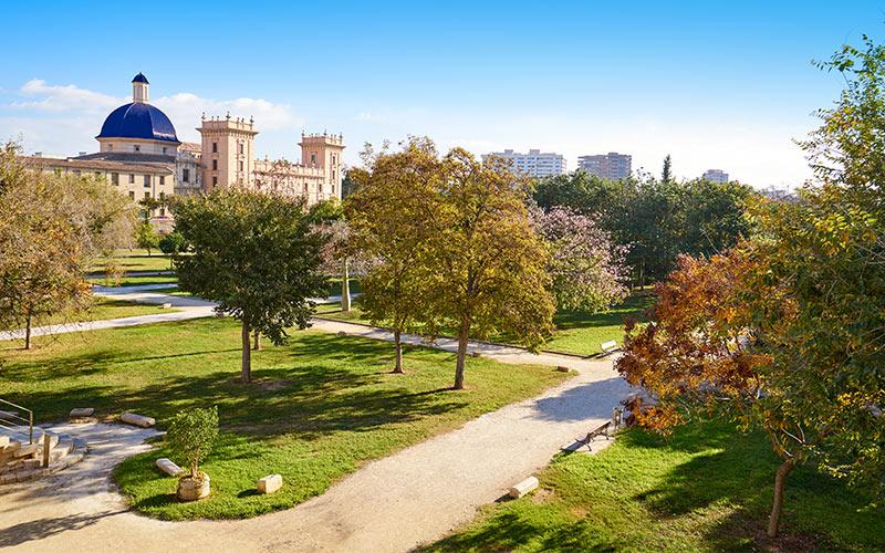 Jardín del Turia con el Museo de Bellas Artes al fondo