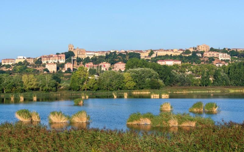 Lago de Paúl con la ciudad de Laguardia al fondo
