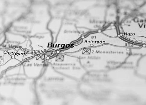 Belorado en un mapa de Burgos en blanco y negro
