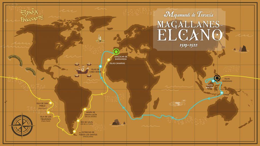 Mapa de la vuelta al mundo de Magallanes y Elcano