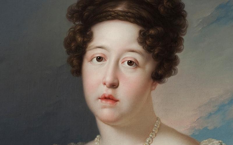 María Isabel de Braganza como fundadora del Museo del Prado, obra de Bernardo López Piquer