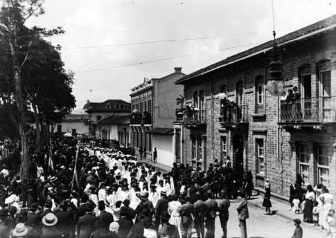 Pueblo de Medellín, España, en fiestas foto antigua