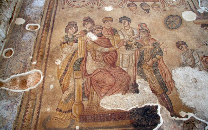 Parte del mito de Pélope e Hipodamía en el mosaico de Noheda