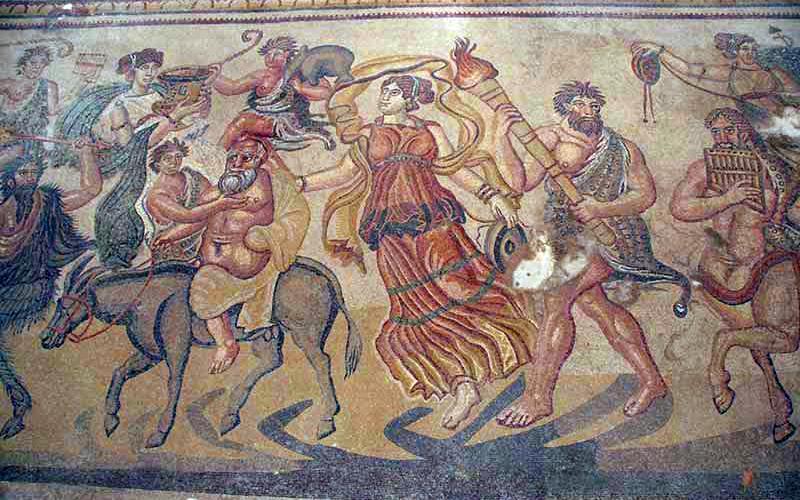 Detalle de la trama dionisíaca del mosaico de Noheda