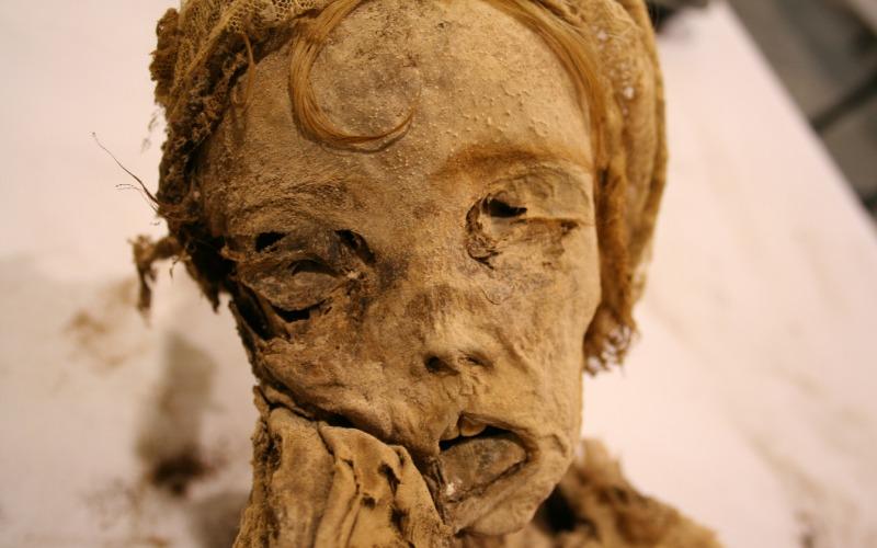 Uno de los cuerpos expuestos en Quinto momias