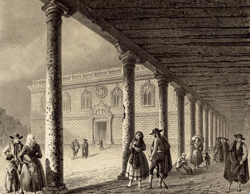 El palacio en una ilustración de Recuerdos y bellezas de España. | José María Quadrado; F. J. Parcerisa