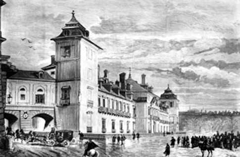 Grabado del Palacio Real de El Pardo siglo XIX